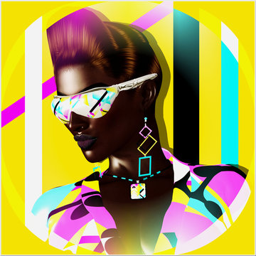 Funky girl with a geometric shapes background, a punk hairstyle and sunglasses, create this beauty and fashion profile scene. Retro look perfect for fun projects. 3d digital art render.