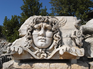 Medusa head in Temple of Apollo at Didim, Turkey