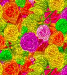 Floral background with colorful abstract flowers and glitter effects.