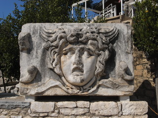 Medusa head in Temple of Apollo at Didim, Turkey