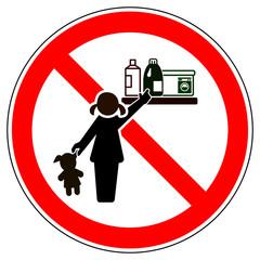 srr307 SignRoundRed - german - Verbotszeichen: Produkte ausserhalb der Reichweite von Kindern aufbewahren - Waschmittelbehälter - english - prohibition sign - keep out of reach of children - xxl g5739