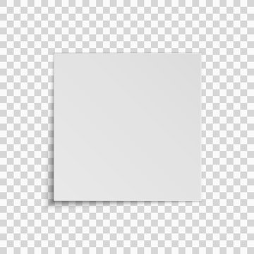 Realistic square white sheet of paper isolated on a transparent background. Template for your project. Vector