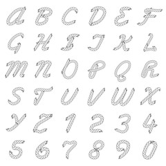 Black and White Vector Rope Alphabet
