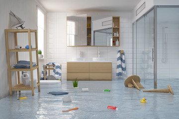 Überschwemmtes Skandinavisches, Nordisches Badezimmer   Bad   Dusche    Wasserschaden   Havarie   Hochwasser
