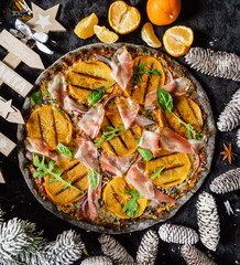 Christmas pizza with persimmon