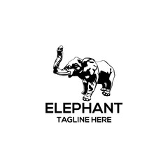 animal elephant vector black white silhouette