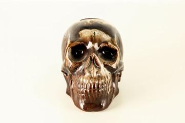 Decorated skull ceramics death symbol