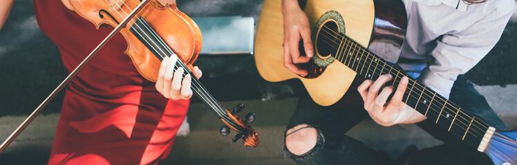Obraz musical instrument advertising. guitar violin repair shop concept - fototapety do salonu