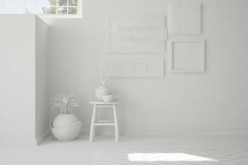 White empty room with chair. Scandinavian interior design. 3D illustration
