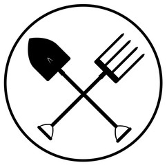 black gardening tools icon vector eps 10