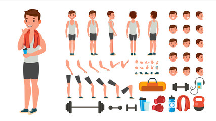 Fitness Man Vector. Animated Athlete Character Creation Set. Full Length, Front, Side, Back View, Accessories, Poses, Face Emotions, Various Hairstyles, Gestures. Isolated Flat Cartoon Illustration