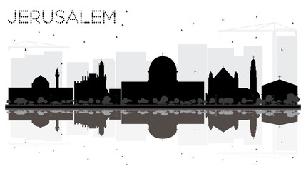 Jerusalem Israel City skyline black and white silhouette with Reflections.