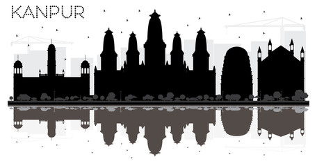 Kanpur India City skyline black and white silhouette with Reflections.