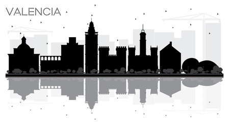 Valencia Spain City skyline black and white silhouette with Reflections.