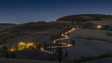 winding road at night