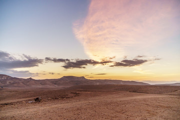 Morning colorful landscape of magic sunrise in judean desert in Israel.