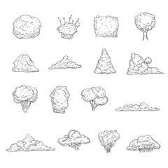 Set of bushes different shape in hand drawn sketch style. Isolated on white background. Vector illustration.