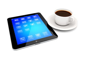 Tablet pc and coffee cup on a white
