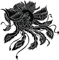 hand drawn colorful Phoenix tattoo,Fire bird isolate on white background,Japanese and Chinese Peacock,Art of Phoenix Physiology
