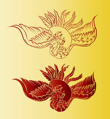 Gold Chinese peacock background.Golden phoenix vector Japanese style.,Art of Phoenix Physiology