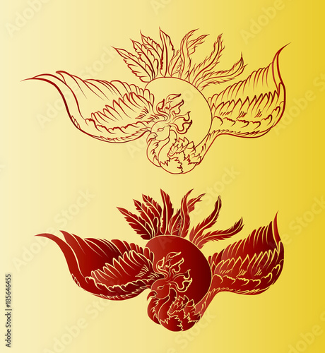 Gold Chinese Peacock Backgroundgolden Phoenix Vector Japanese Style