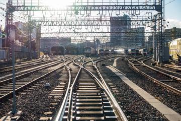 Türaufkleber Eisenbahnschienen 電車の車両基地