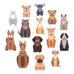 Cartoon Dog Breeds Isolated Illustrations Set
