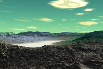 Alien Planet. Mountain. 3D rendering