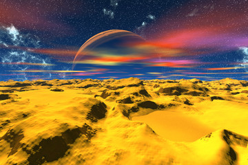 Alien Planet. Desert. 3D rendering