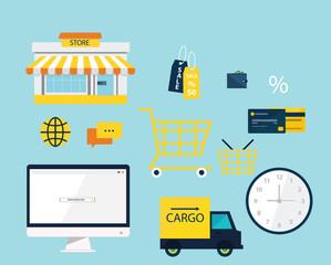 Online market icon set vector