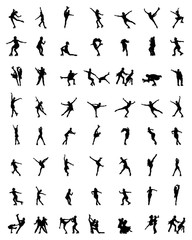 Black silhouettes of skaters on a white background