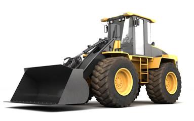Powerfull concept. Massive yellow hydraulic earth mover isolated on white. Right to left direction. 3D illustration. Wide angle. Side view
