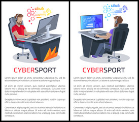 Cybersport Posters with Text Gamers Playing Games