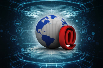3d rendering E mail sign connect with world