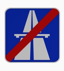 Deutsches Verkehrszeichen: Ende Autobahn.