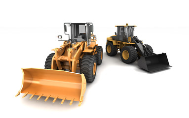 Construction site concept. Two different powerfull hydraulic earth movers isolated on white moving in different directions. 3D illustration. Wide angle. Front view