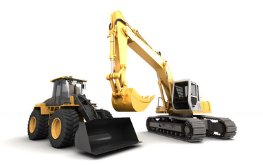 Construction site concept. Two powerfull hydraulic machines excavator and earth movers isolated on white standing next to each other. 3D illustration. Wide angle. Front view