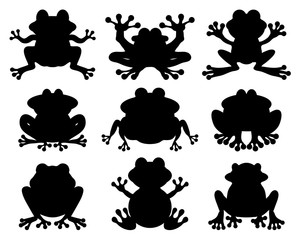 Black silhouettes of frog on a white background