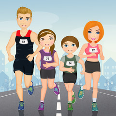 illustration of family runs