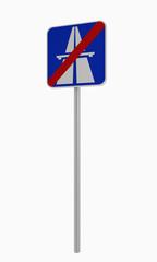 Deutsches Verkehrszeichen: Ende Autobahn. Auf weiß isoliert