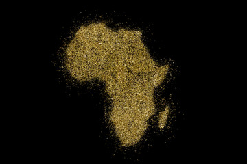 Africa shaped from golden glitter on black (series)