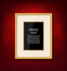 Gold vintage picture frame on red  wall
