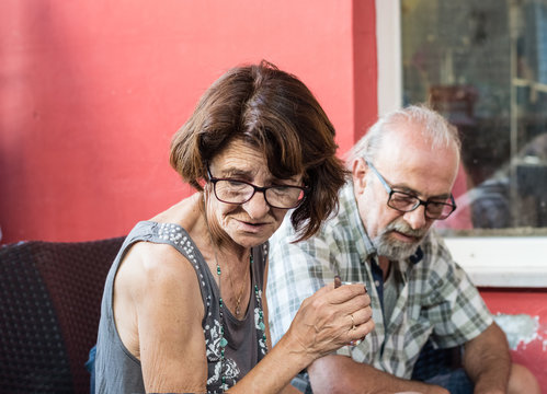 Mature Turkish couple having a deep conversation at the cafe in Eskisehir.