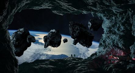 Astronauci badający jaskinię w asteroidzie 3D renderujące elementy tego obrazu dostarczone przez NASA
