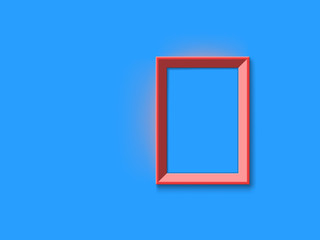 red picture frame on blue wall