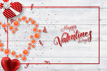 Happy Valentine's Day, holiday banner. Lighted candles, put in the form of a heart on a white background, gift. Greeting card, flyer, romance.