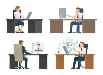 Video Conference of People Vector Illustration