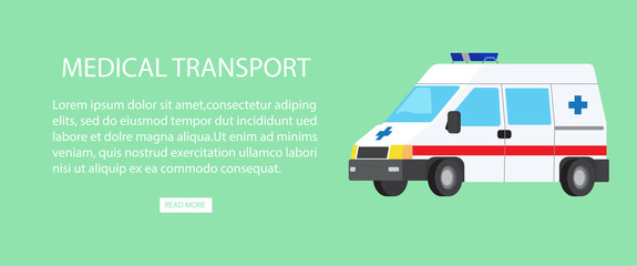 Medical Transport Isolated Illustration with Text