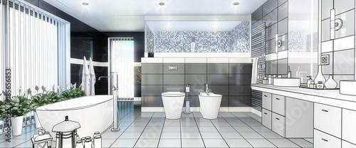 Luxury Bathroom In Project Panoramic Stockfotos Und Lizenzfreie
