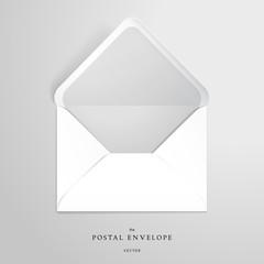 Vector template open envelope. Realistic shadows.